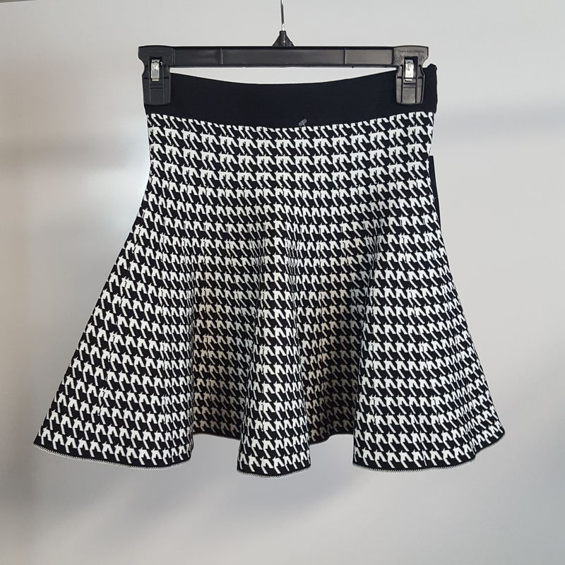 New Shop For Cheap One Monarchy Black/white Stretch Houndstooth A-line Mini Skirt Women's Xs Agreeable Sweetness