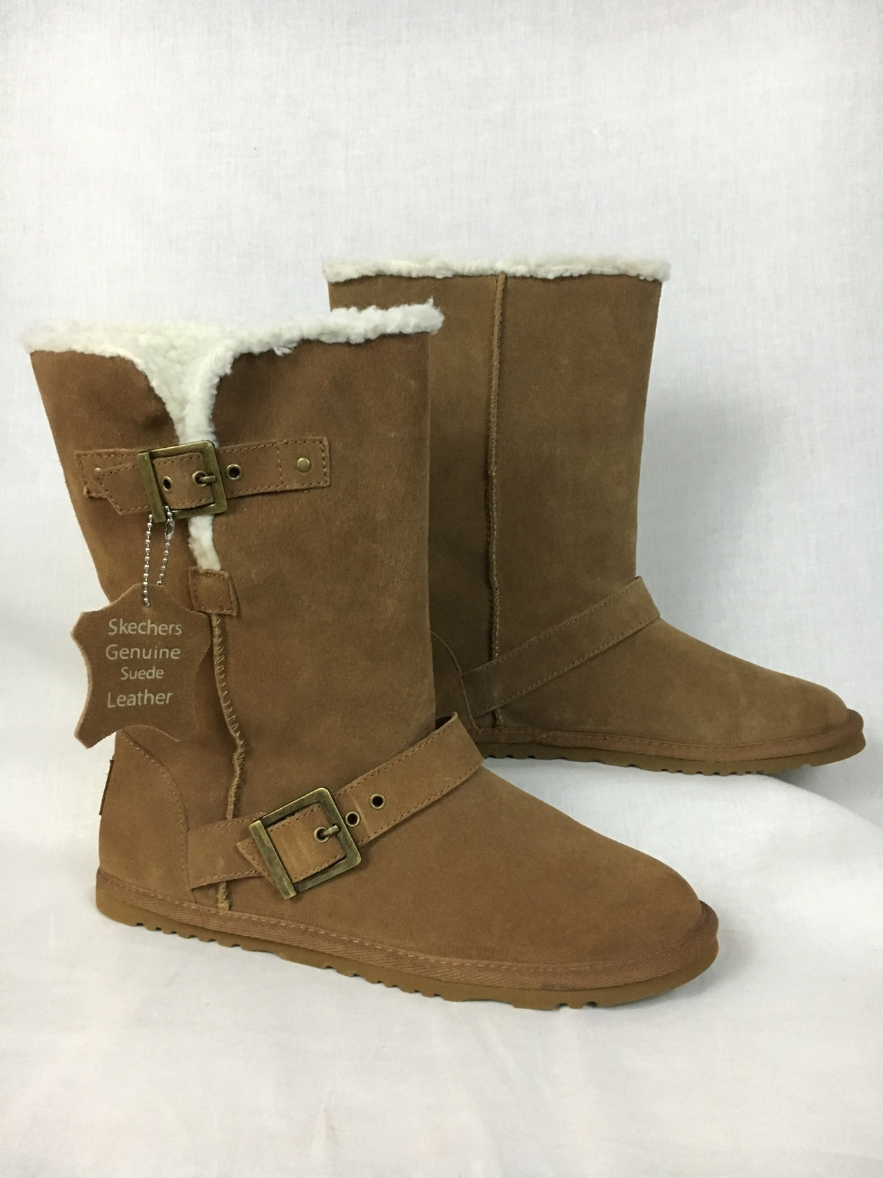 c272738e814 Details about Skechers Australia Womens Beige Flat Suede Mid-Calf Faux  Shearling Boots 10 NEW